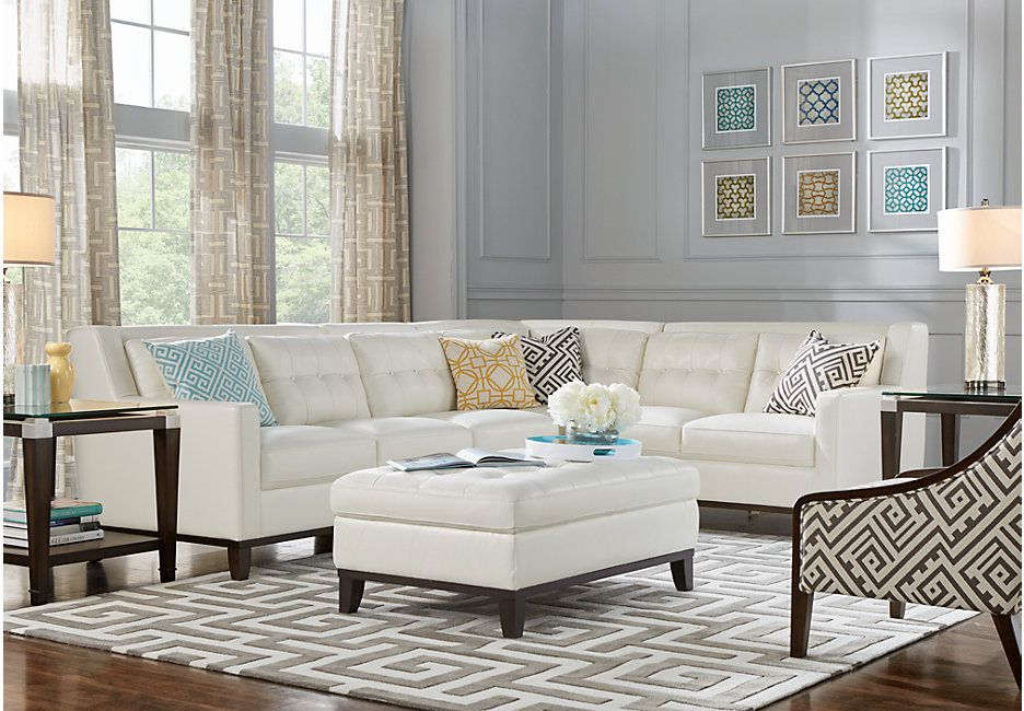 Living Room With White Leather Sofa Hd Wallpaper For Free With
