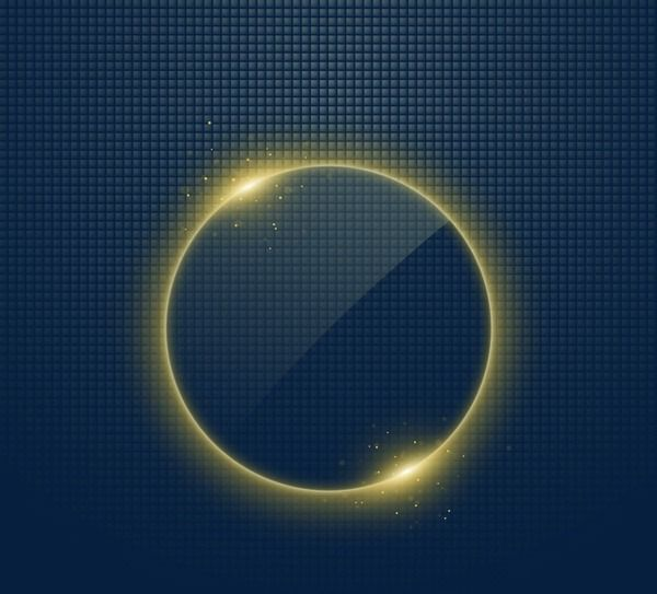 Circle Light Effect Gold Bubble Bright PNG Image