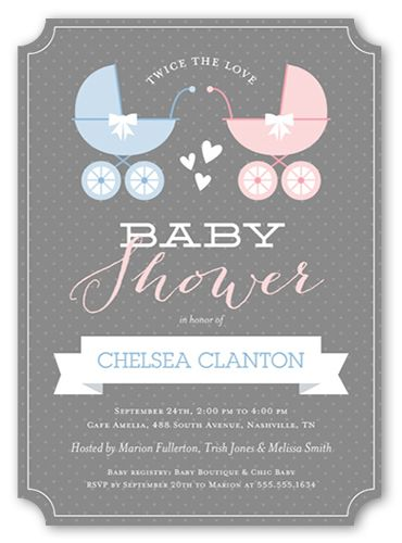 Baby Shower Invitation Buggy And Banner Twins Ticket Corners Grey