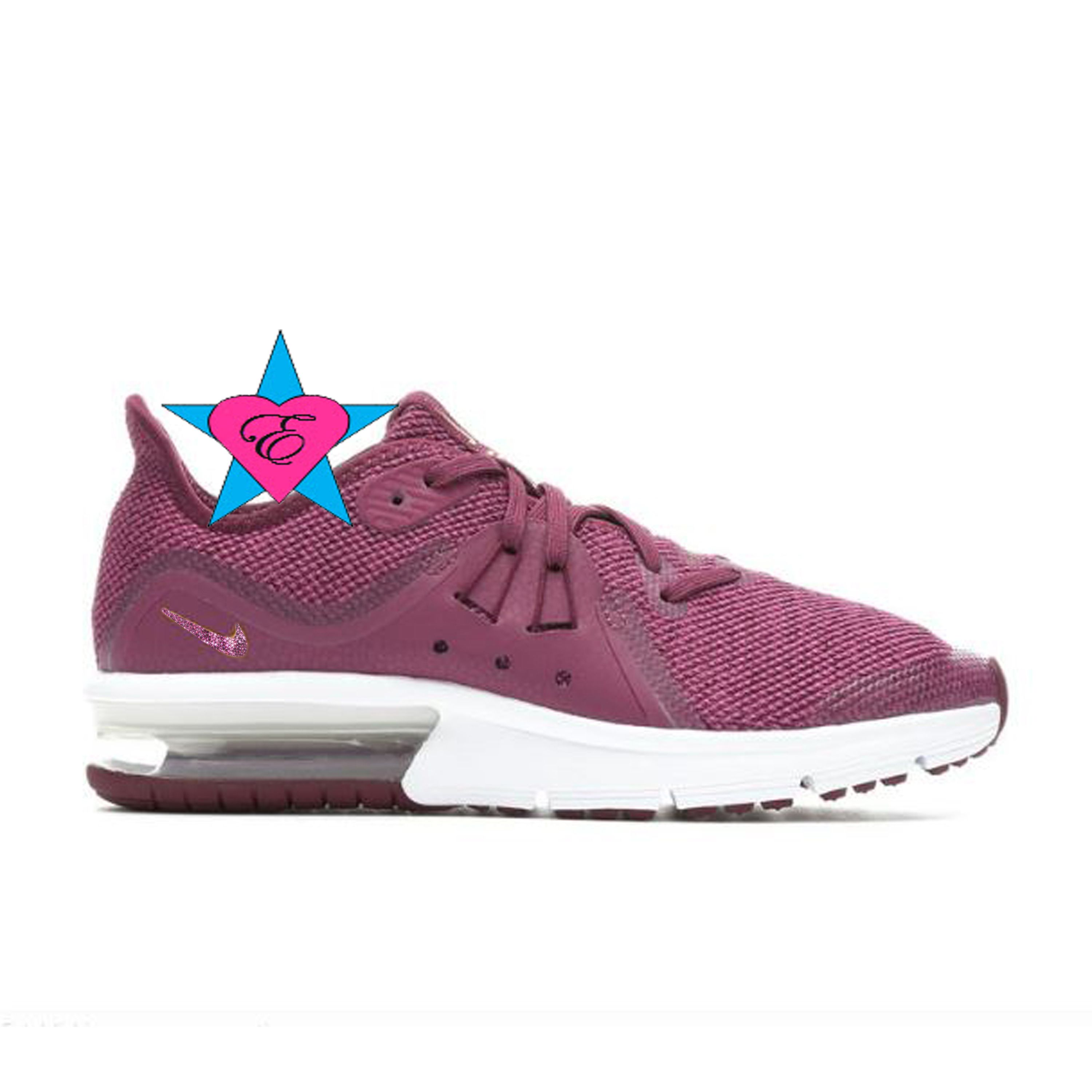 ... arrives a30aa 579ce Bling Shoes for Girls Bedazzled Burgundy N I K E  Air Max Sequent 3 3.5- ... e3acdcd936a6