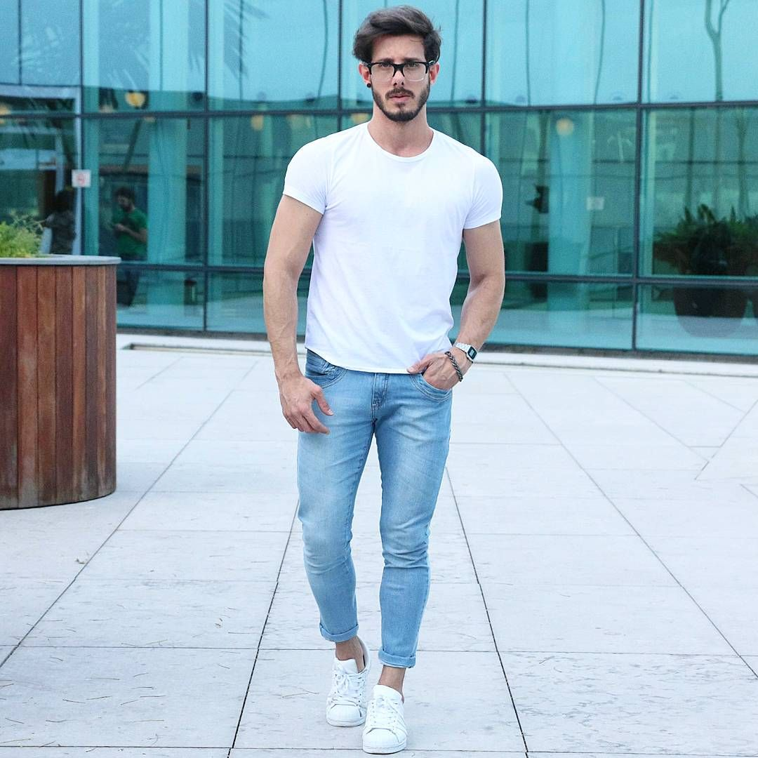 Men Skinny Superstar Look White Basic Outfit Adidas Style rg0Rrq