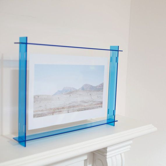 acrylic box frame bright blue a4 frame perspex frame floating frame neon box frame