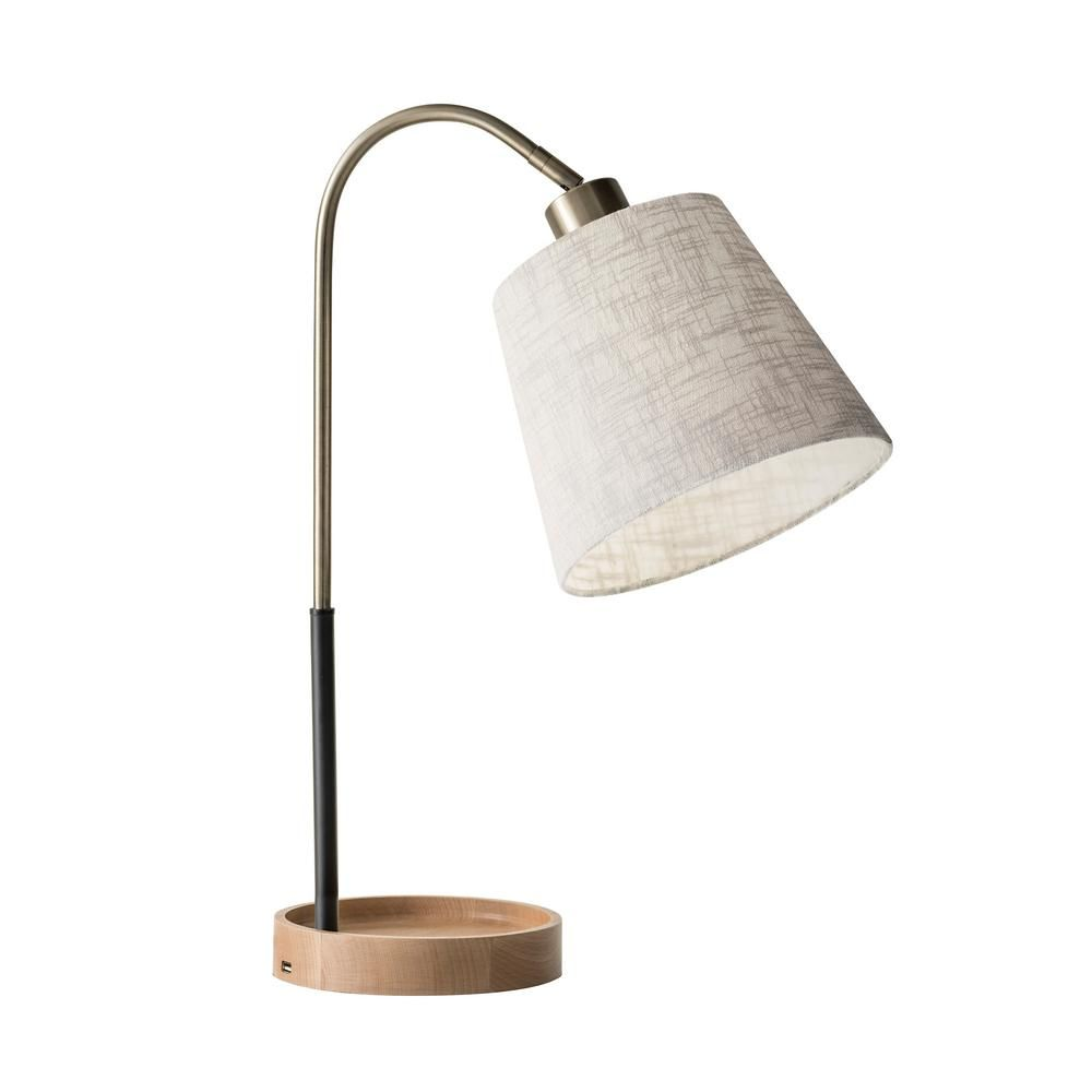 Adesso Jeffrey 21 In Brass Table Lamp 3407 21 The Home Depot Table Lamp Lamp Brass Table Lamps