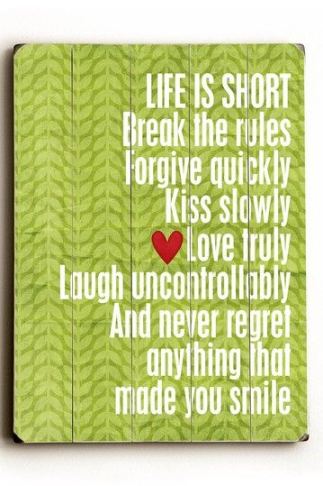 Life is Short Distressed Wood Wall Plaque | Words to Live By ...