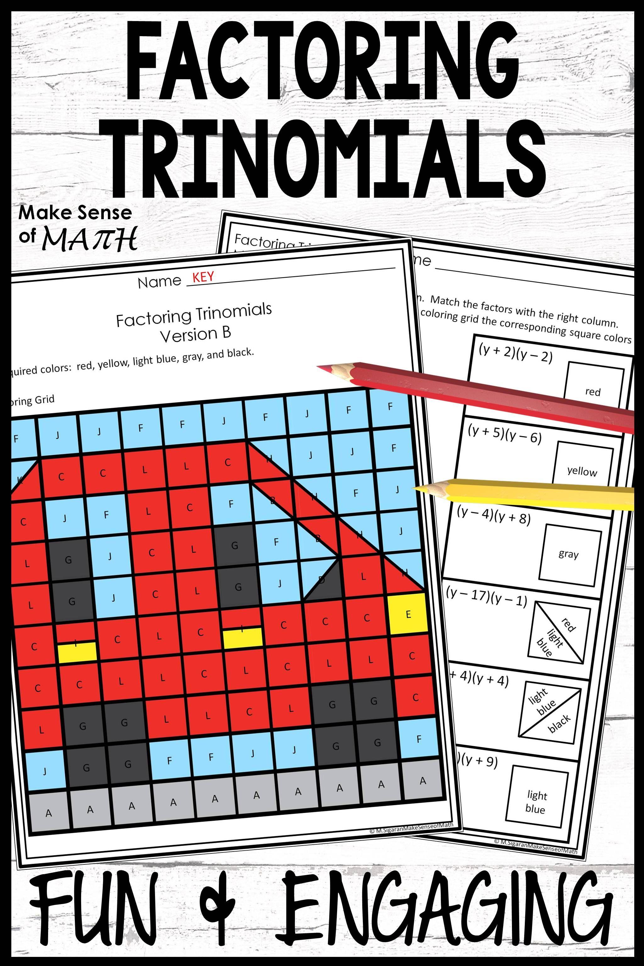 Factoring Trinomials A 1 Activity Math Games Middle School Maths Activities Middle School Middle School Math Classroom