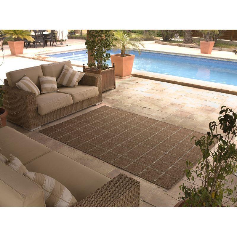 alfombra para interior y exterior color marr n y gris On alfombras para exterior
