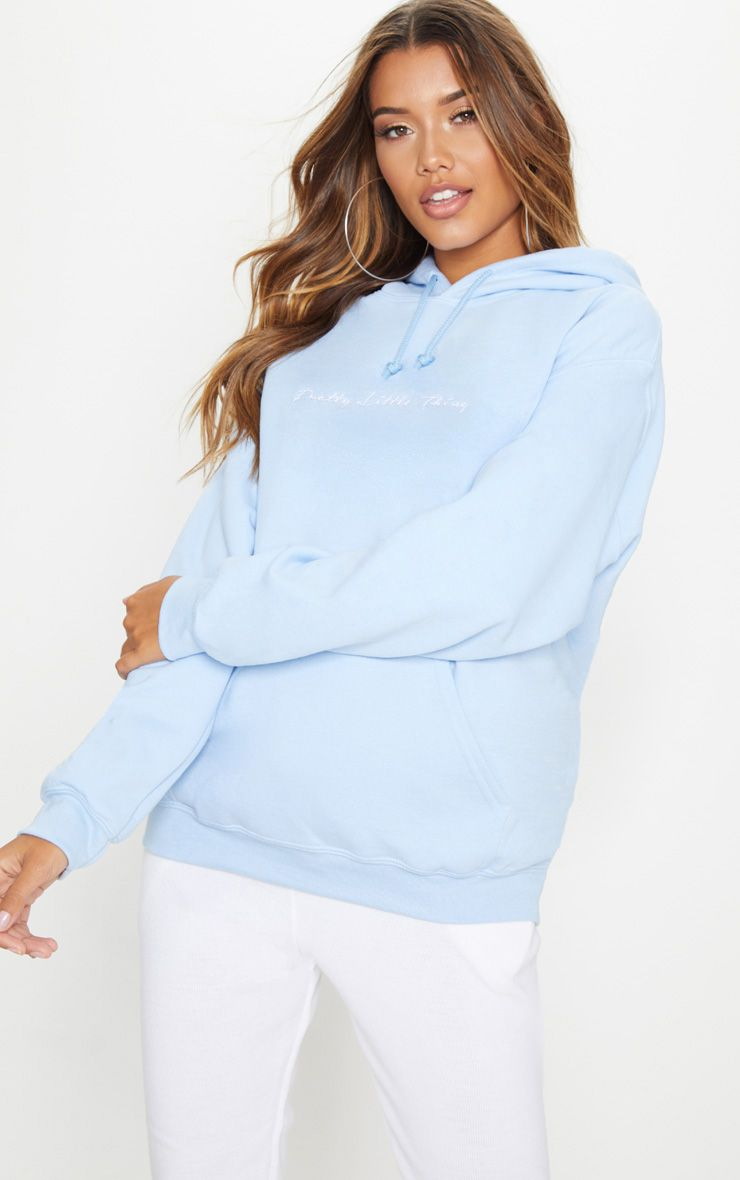 Prettylittlething Light Blue Embroidered Oversized Hoodie Prettylittlething Usa Light Blue Hoodie Blue Hoodie Outfit Oversize Hoodie [ 1180 x 740 Pixel ]
