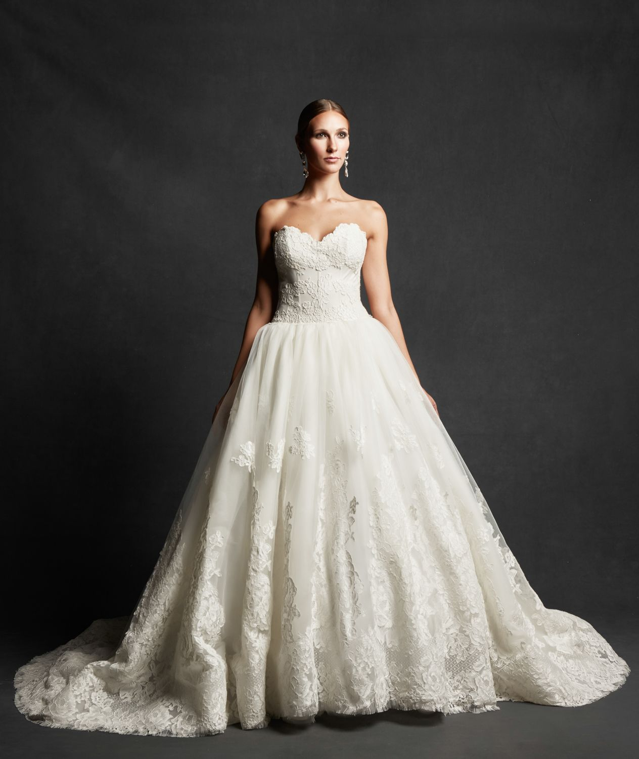 David S Bridal Collection Strapless Tulle Ball Gown With: Strapless Ball Gown With Appliqued Rose Lace On