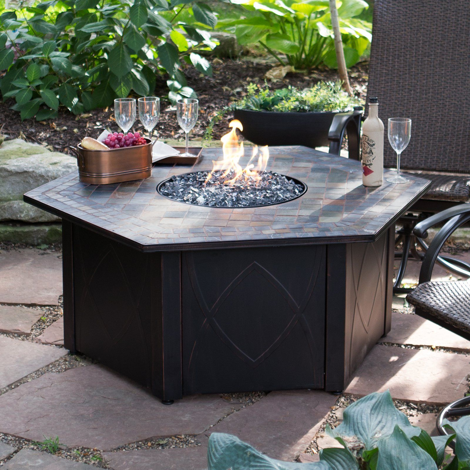 Decorative Patio Tiles Captivating Uniflame 55Indecorative Slate Tile Lp Gas Outdoor Fire Pit With Inspiration Design