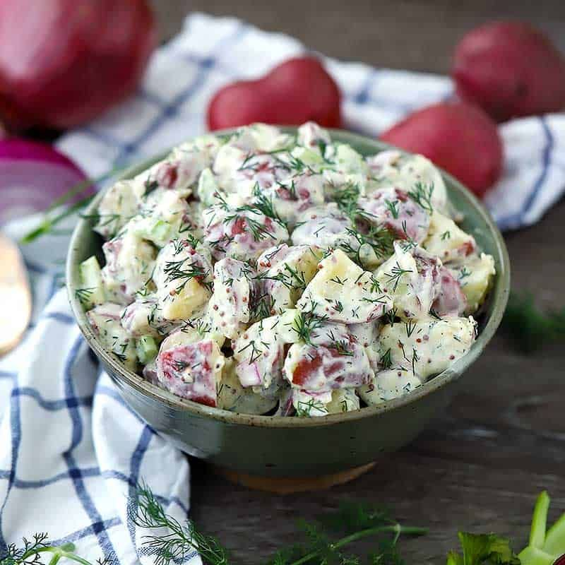 This Easy Make Ahead Potato Salad Is Packed With Fresh Dill Dijon And Whole Grain Mustards And Coated In Crea Dill Potatoes Dill Recipes Potatoe Salad Recipe