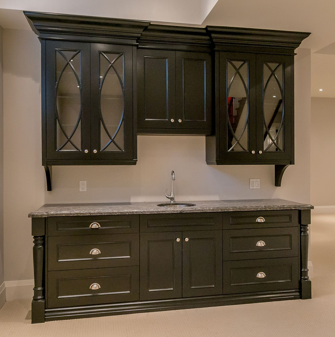 Prasada Kitchens And Fine Cabinetry: Basement Bar. Black Cabinetry. Luxury. (With Images