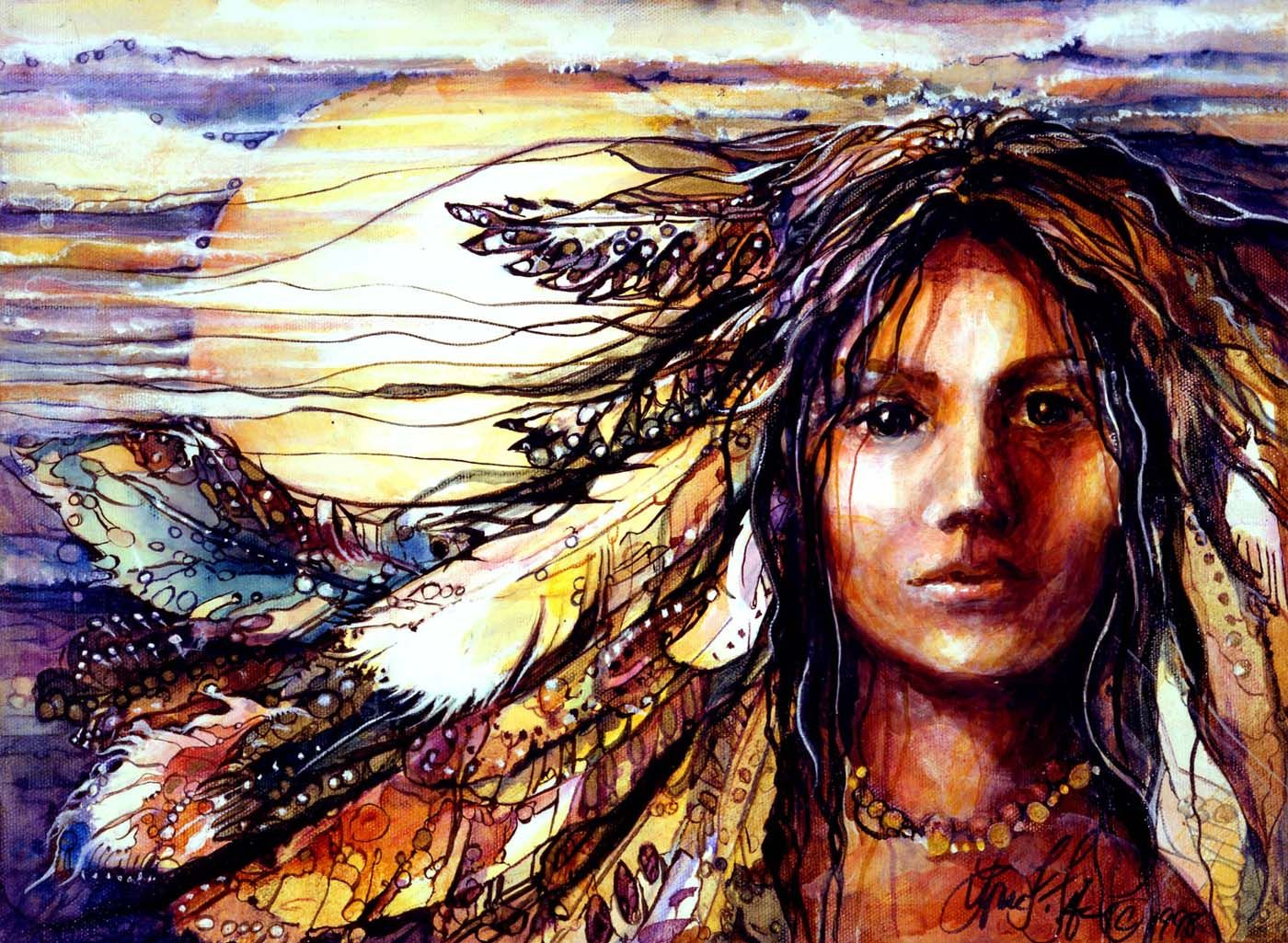 Native American Indian Women Golden Girl, abstract