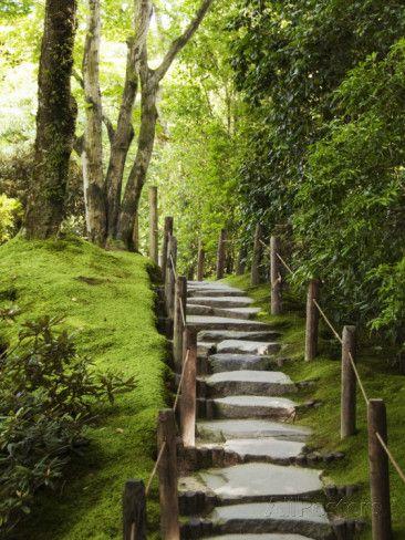 Stone Steps Leading Through Shoyoen Garden at Rinno-Ji Temple Fotografisk trykk