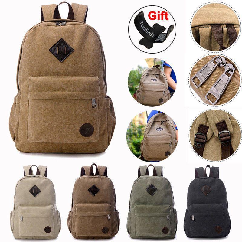 06a24bbf3b Men Women Vintage Canvas Backpack Rucksack School Satchel Travel Hiking  Book Bag   14.99 End Date  Wednesday Sep-19-2018 16 03 59 PDT Buy…