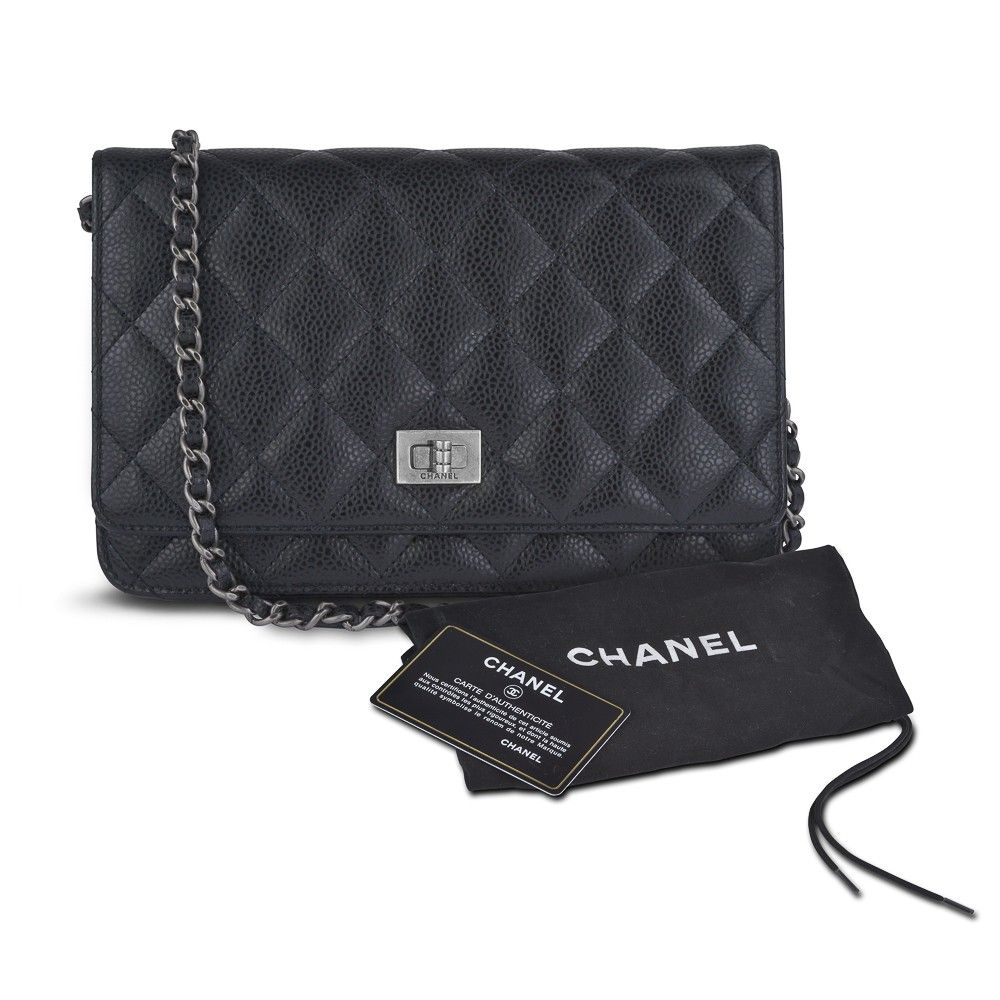 fe79fa08b314 Chanel 2.55 Mini Flap Bag Quilted Black Caviar Leather Reissue Wallet on  Chain WOC 2.55 Flap Bag w/ Authenticity Card, at Sareh & Jones - London, ...