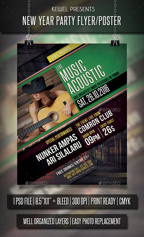 Live Music Acoustic Flyer  Templates  Flyer Template Acoustic