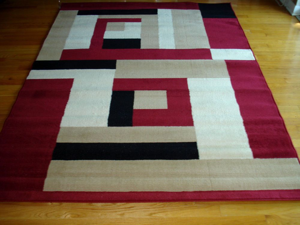 Modern Red Beige White Black Design 5x8 Area Rug Carpet New