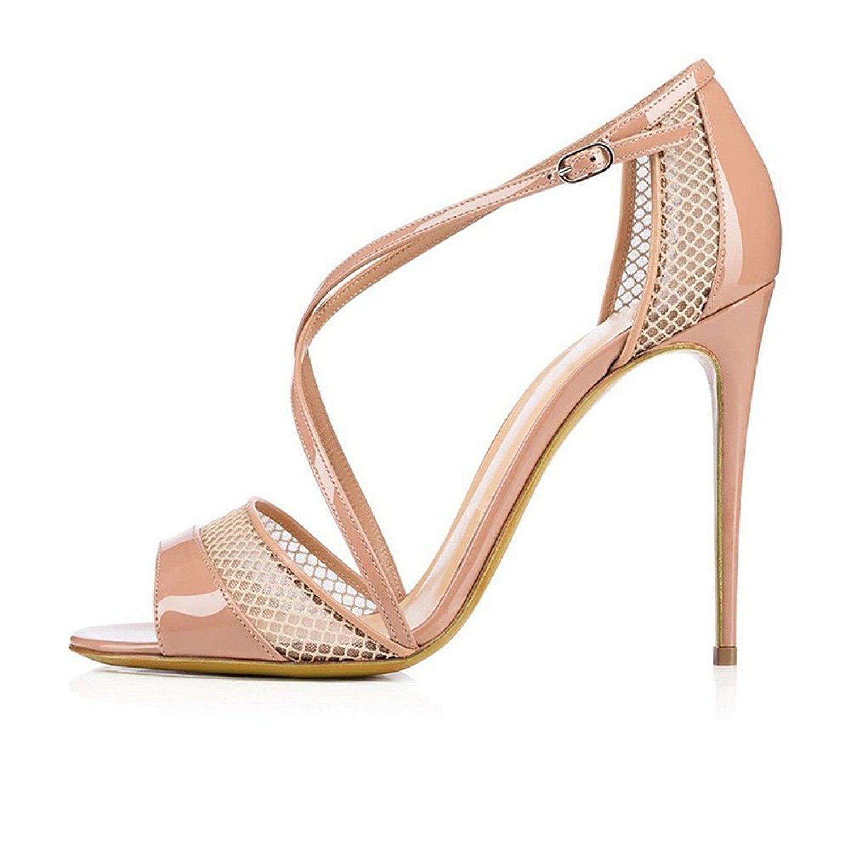 548d7020b96 Juoar Women s Peep Toe Stiletto High Heels Sandals Ladies Crisscross Ankle  Buckle Strap Pumps Mesh Shoes