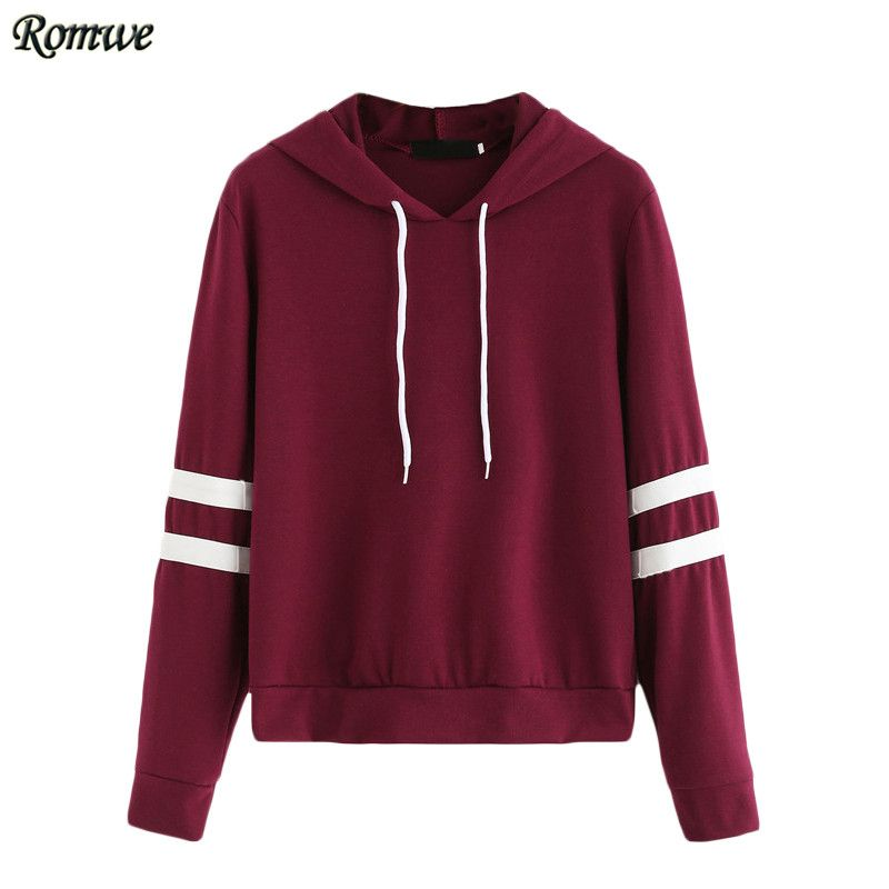 Burgundy Long Sleeve Varsity Striped Drawstring Hooded Pullover ...