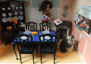 Rare Vintage Pedigree Sindy Boxed Complete 1984 Black Dining Dresser