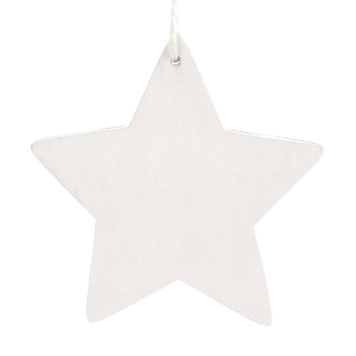 Decorative star made of wood, 11 cm. In white wash. Also available as openwork star and in grey wash.