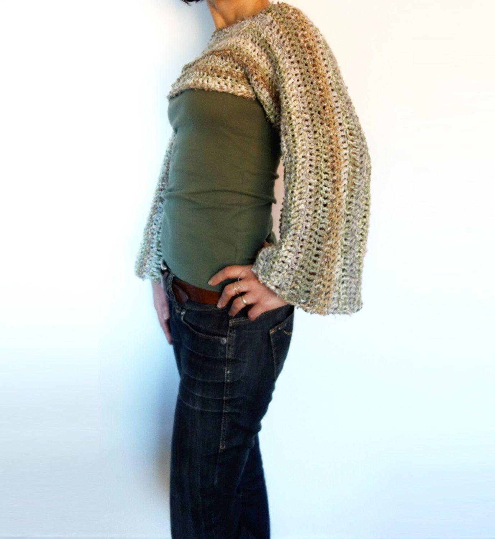 Crochet Pattern - Boho Bell Sleeve Cropped Top/ Bohemian Shrug ...