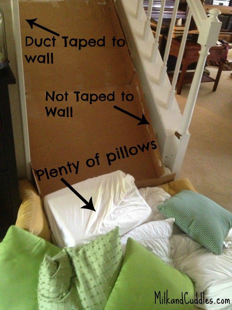 Build A Cardboard Slide On The Stairs Kids Slide Diy Slides