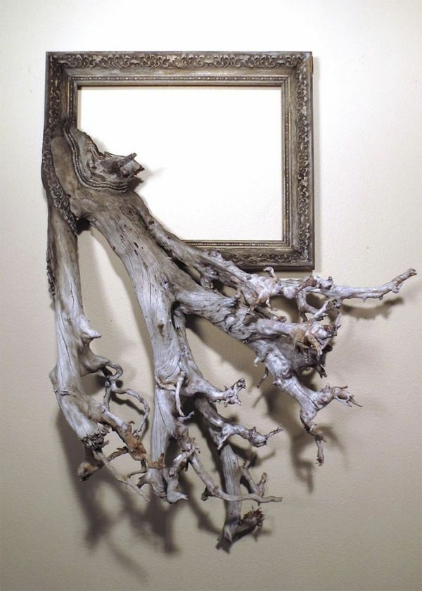 picture frames make himself driftwood creative craft idea ovealer wood frame tendril pattern old gold texture - Driftwood Frame