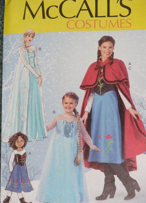 McCall\'s 7000 New Disney Frozen Anna, Elsa Costume Pattern GIRLS ...