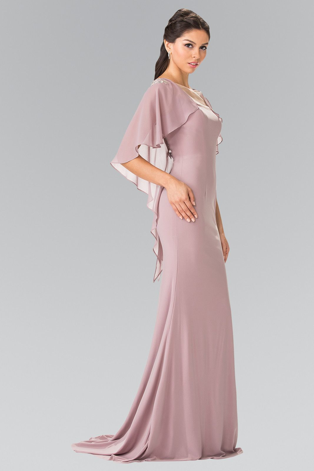 Long sleeveless dress with back caplet by elizabeth k gl products
