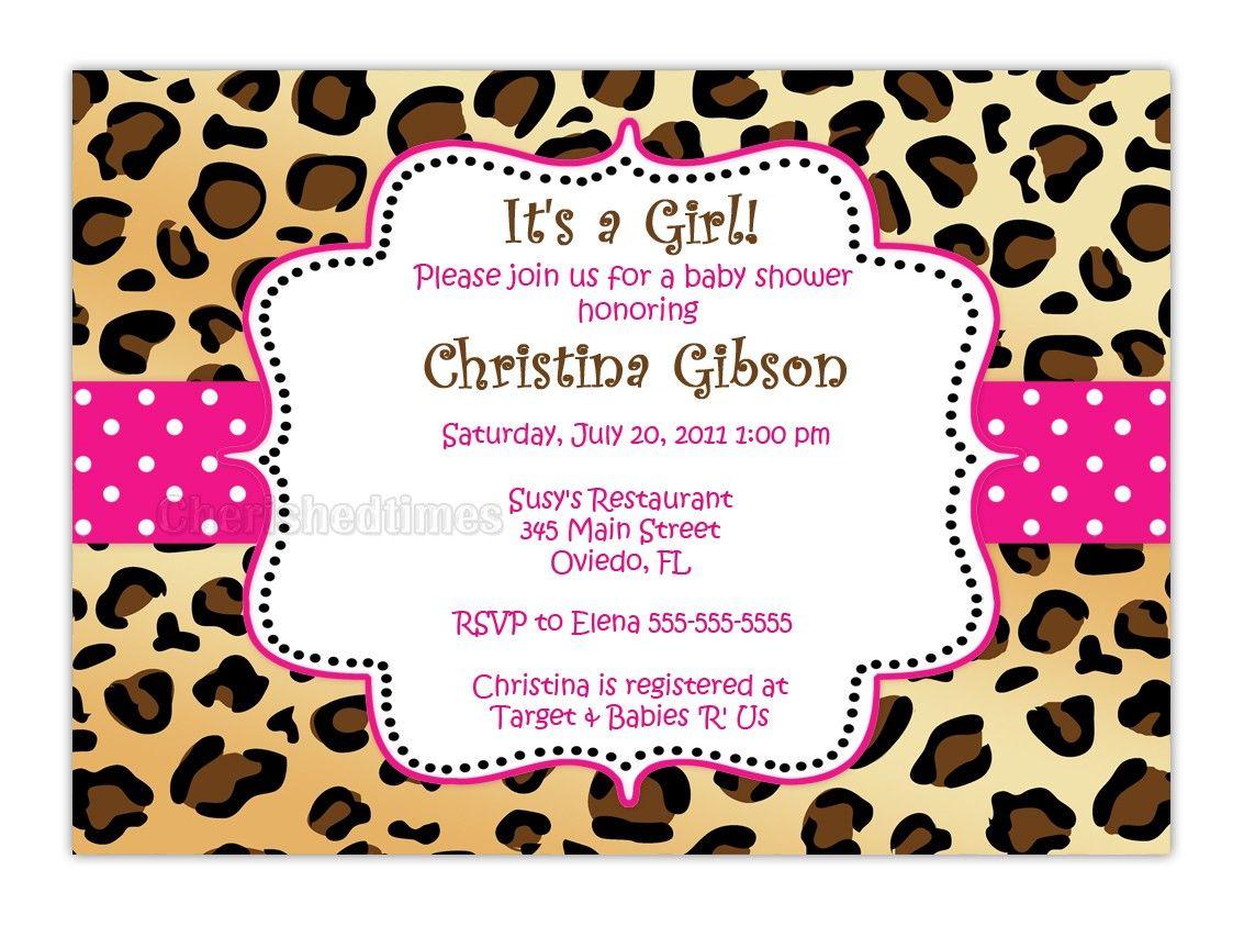 Leopard Zebra Or Any Animal Print Baby Shower Birthday Or Any ...