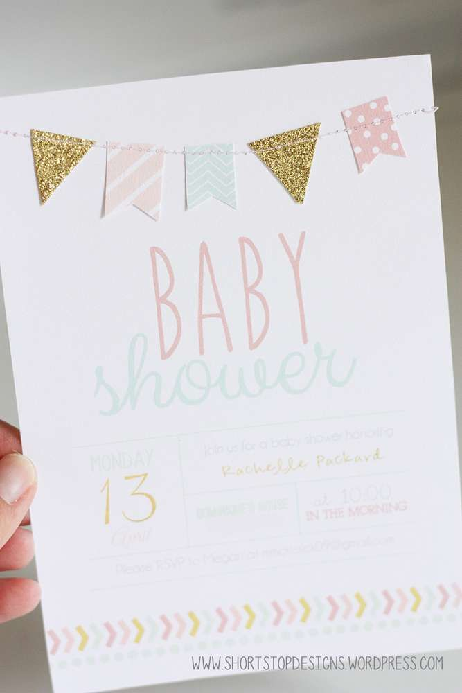 Mint, Pink & Gold Baby Shower Baby Shower Party Ideas | Gold baby ...
