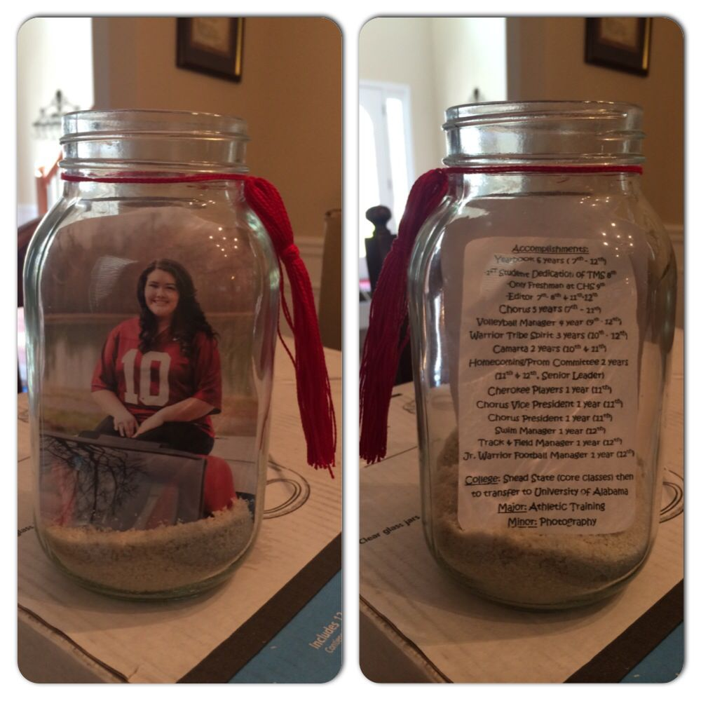 Graduation party mason jars sand picture on one side