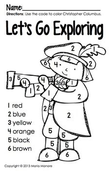Color By Number Christopher Columbus Christopher Columbus Kindergarten Social Studies Christopher Columbus Activities