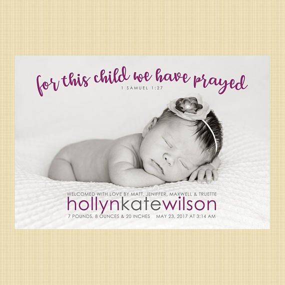 71c1df344 Christian photo birth announcement -  For This Child We Have Prayed ...