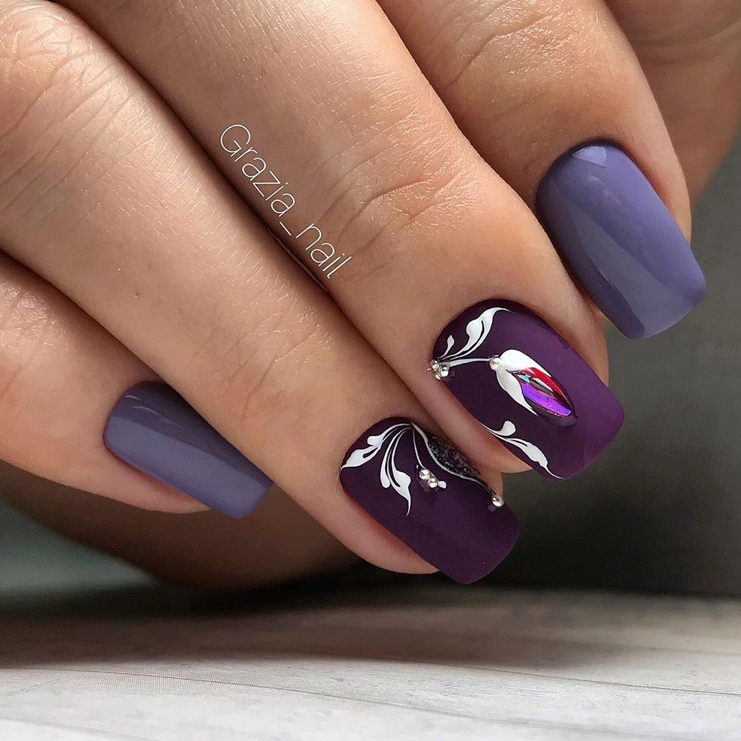 40+ Nail Designs and Ideas for Purple Acrylic Nails ...