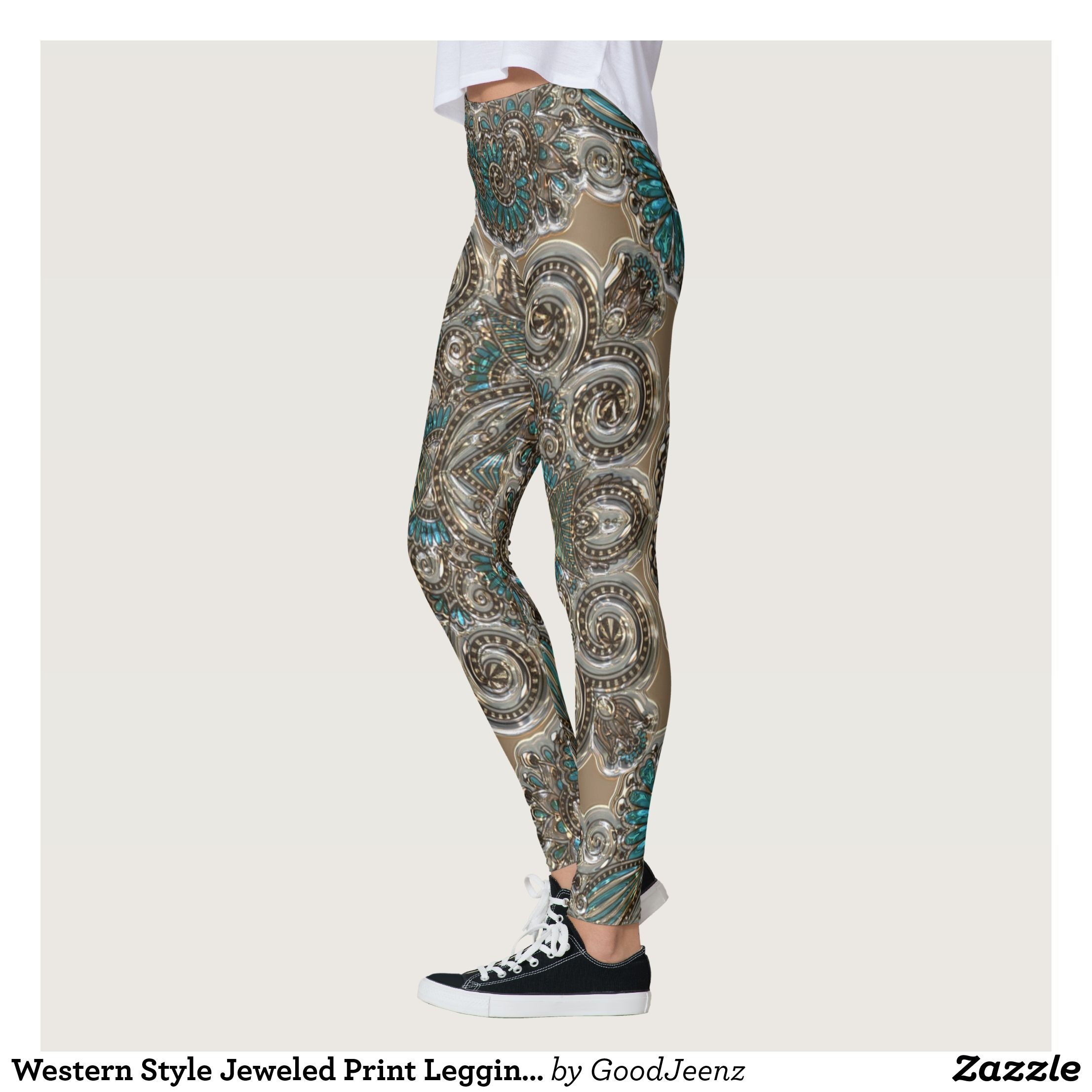 Western Style Jeweled Print Leggings