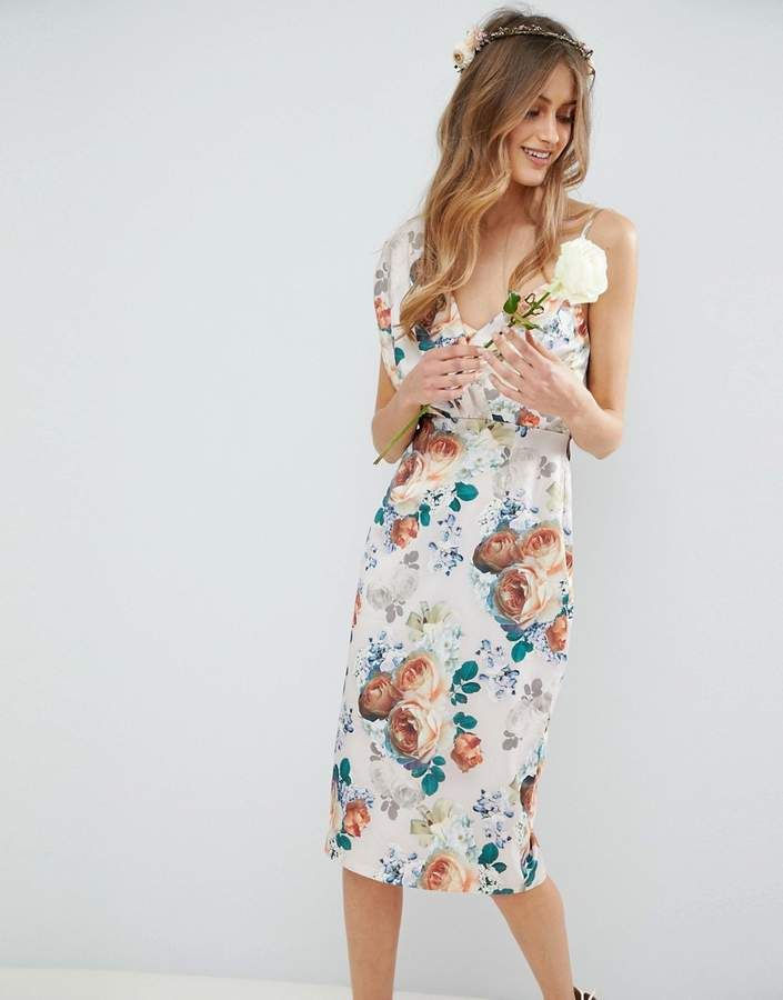 8ff85da8d99 Asos DESIGN midi dress with tie back in pretty floral print  midi dress Asos
