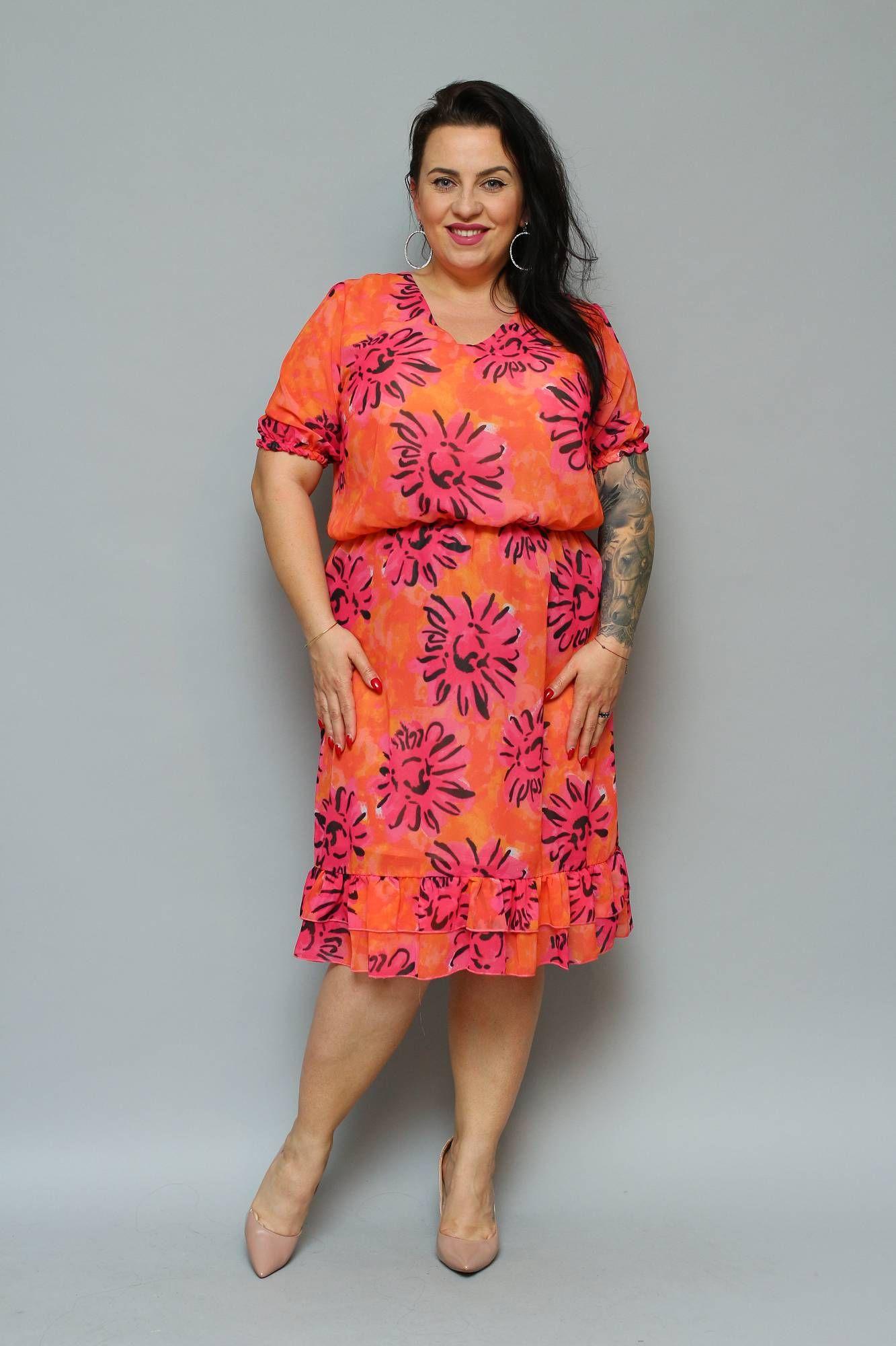Sukienka Linka Szyfonowa Z Falbanka Pomaranczowa W Rozowe Kwiaty Sklep Internetowy Plus Size Dresses High Neck Dress Fashion