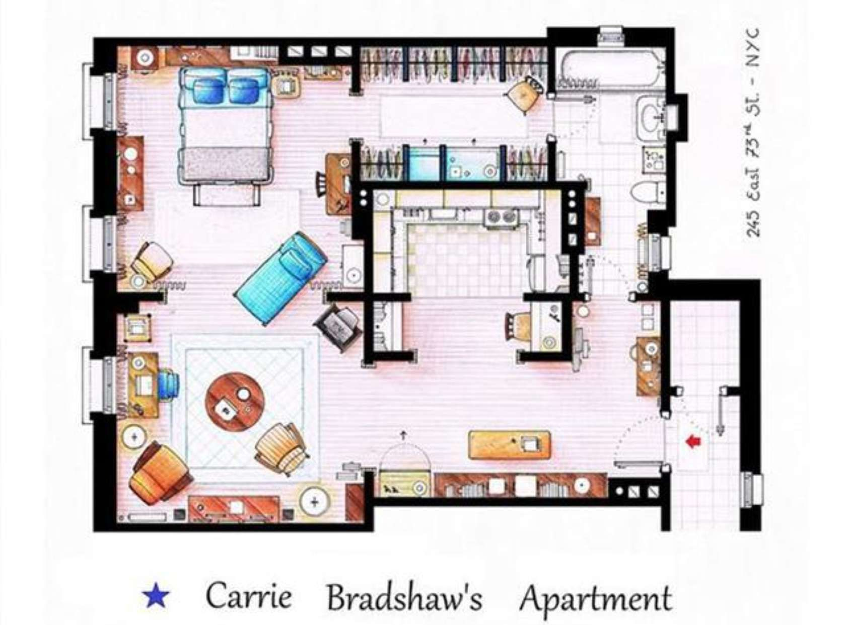 Sex In The City Carrie Bradshawu0027s Apartment Floor Plan