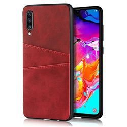 Simple Calf Card Slots Mobile Phone Back Cover for Samsung Galaxy A70