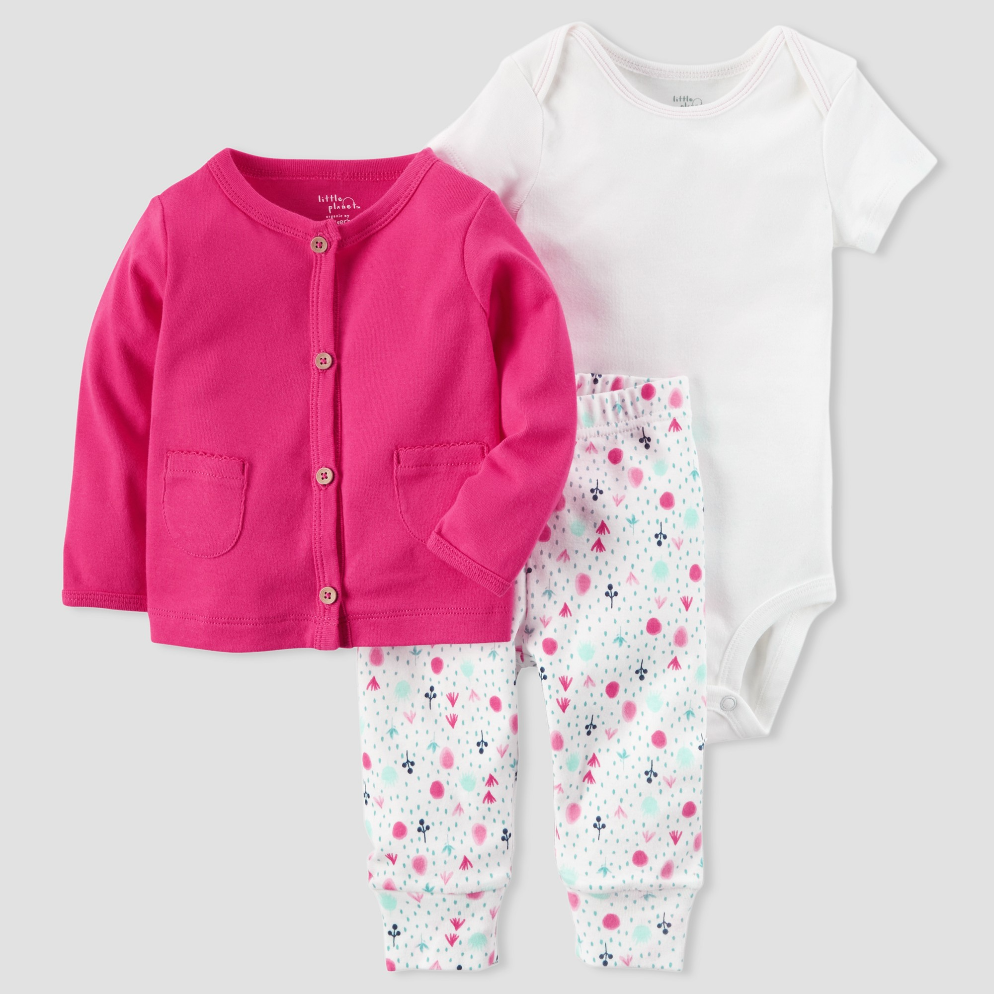 bf5ef0449654 Baby Girls  Cardigan and Floral Pant Set - little planet organic by ...