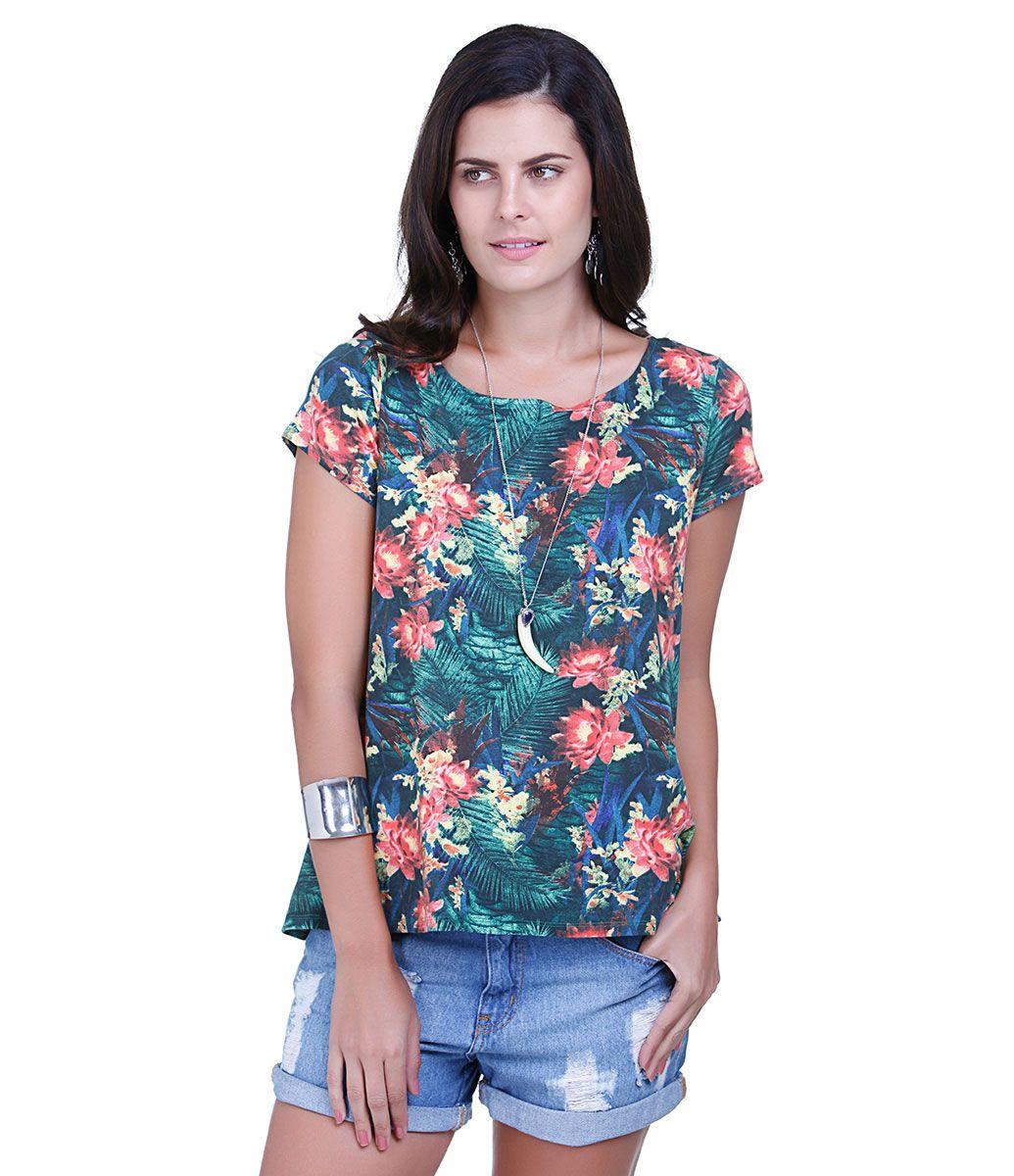 e3de6a84e0 Blusa feminina Modelo mullet Manga curta Decote redondo Estampa floral Gota  nas costas Marca  Marfinno