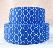 "1.5"" Royal Blue Quatrefoil grosgrain ribbon"