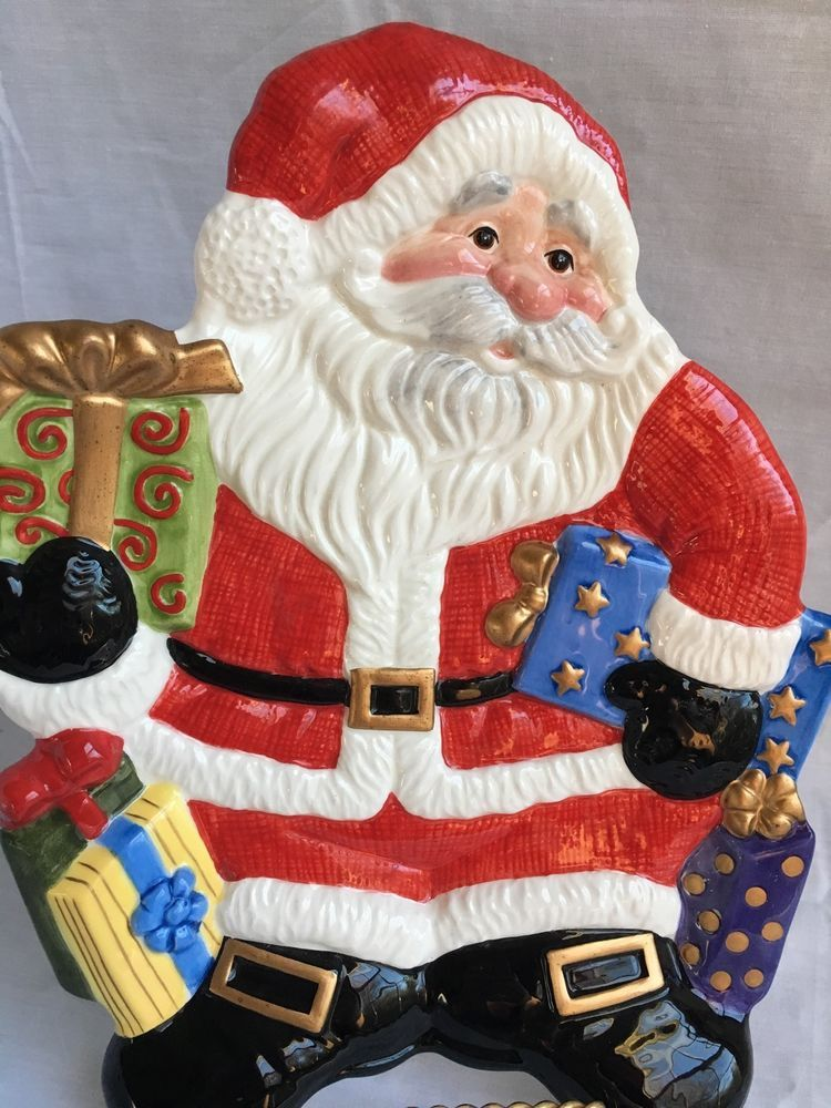 Fitz And Floyd Santa Claus Christmas Cookies Decorative Ceramic