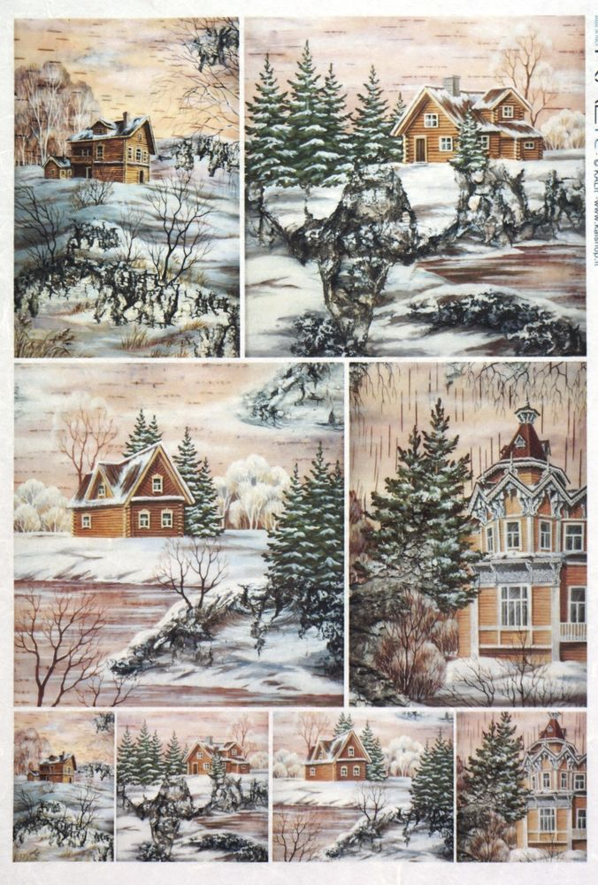 Rice Paper Winter Landscape Village Decoupage Scrapbook Sheet Craft