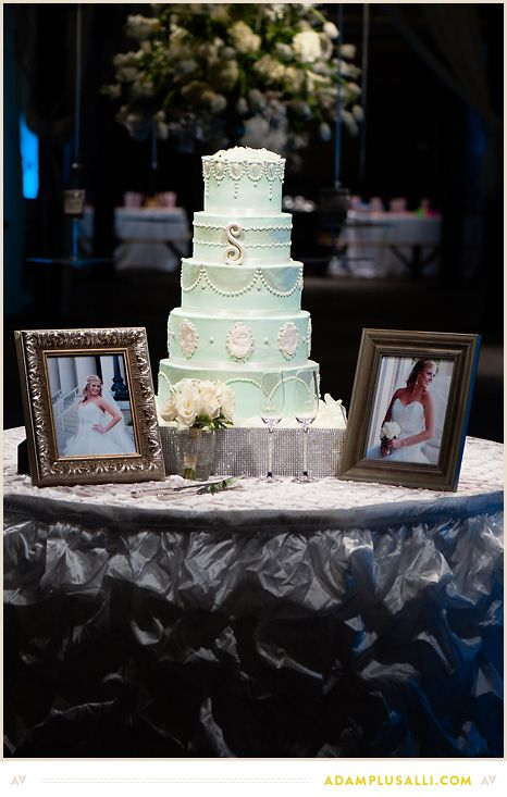 Beautiful cake by the www.thecakediva.net  Mint Green Wedding Cake.  Include initials on the wedding cake.  Pearls and Pipework. Planning by http://www.shannalumpkinevents.com/index2.php#/home/  Photo by www.adamplusalli.com
