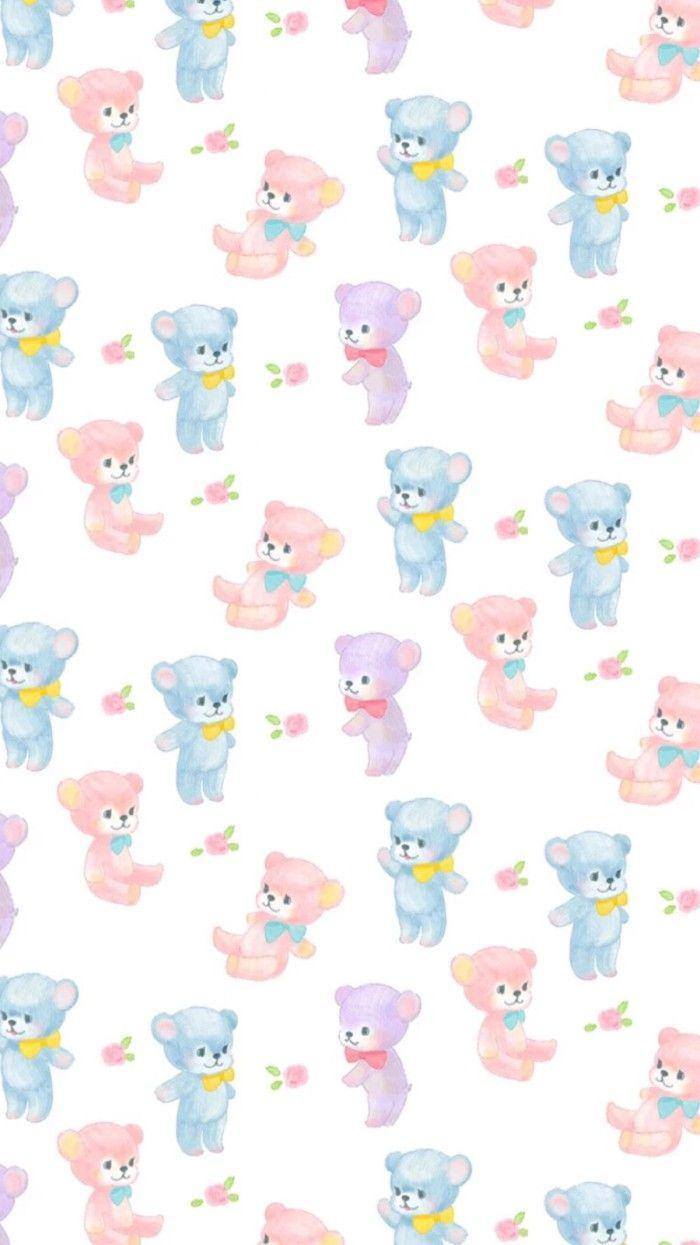 Cute Teddy Bears Pattern かわいいイラスト コラージュ 無料 壁紙 かわいい