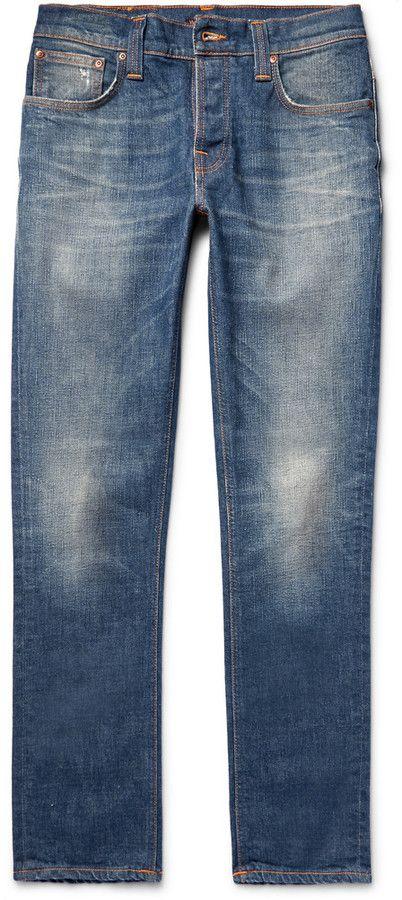 Nudie Grim Tim Slim-fit Organic Stretch-denim Jeans - Light denim Pré-commander bFVYP