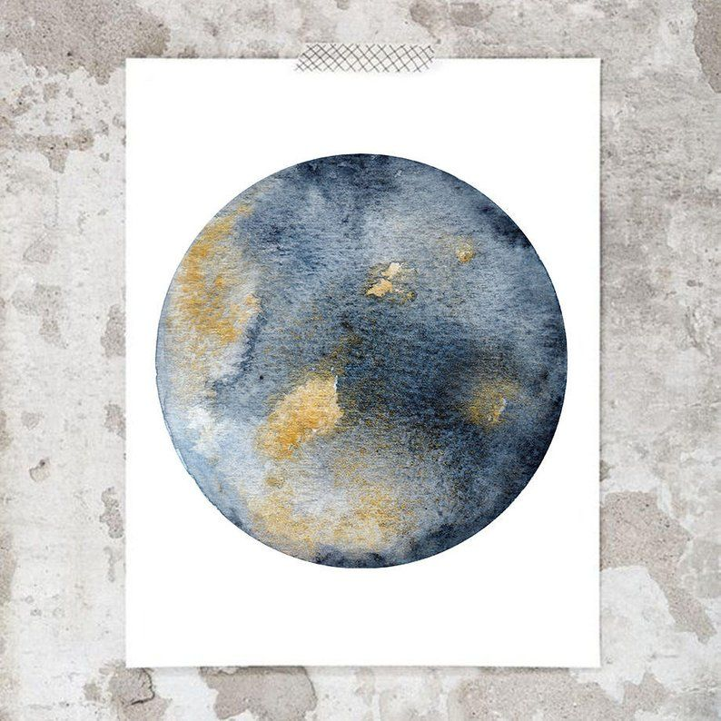 Blue Gold Watercolor Moon Art Print 1703 Hand Finished With Gold